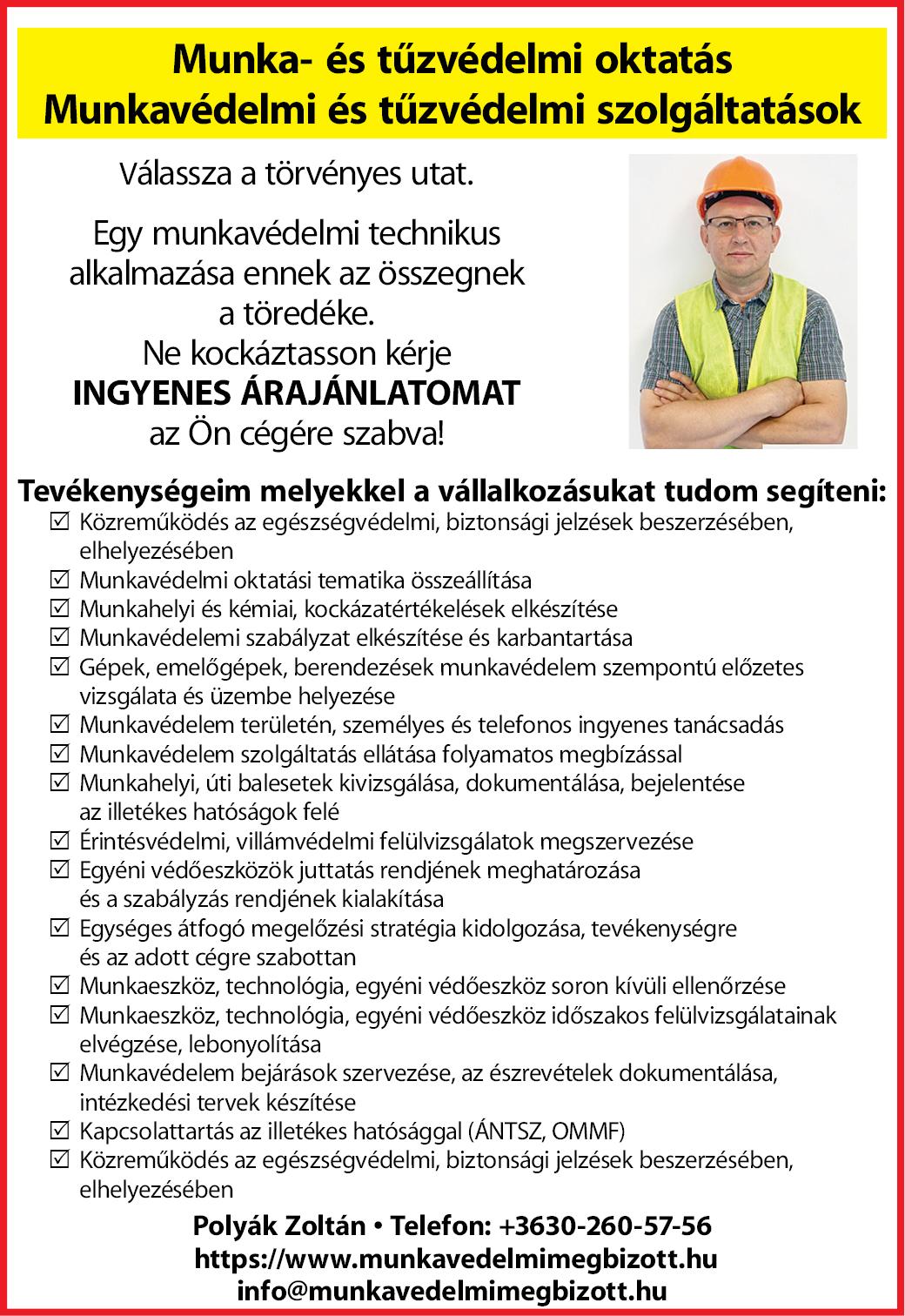 Munka-és tűzvédelmi oktatás Polyák Zoltán